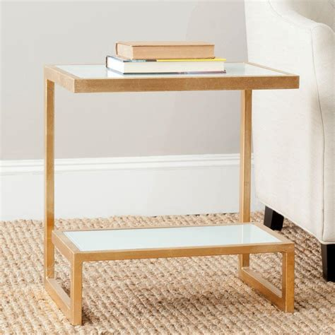 high accent table safavieh kennedy gold and white glass top end table
