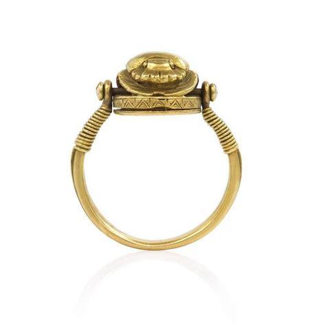 deco revival poison swivel scarab motif ring