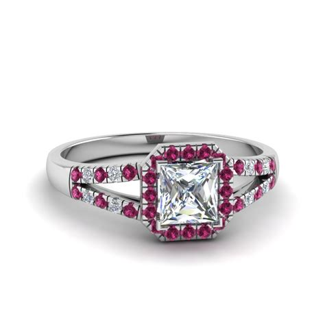 halo princess cut split shank engagement ring with