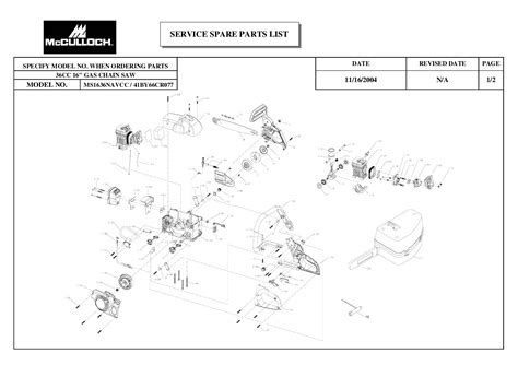 mcculloch parts diagram mcculloch chainsaw ms1636navcc user s guide