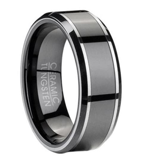 Mens Tungsten  Ee  Wedding Ee   Ring With Black Ceramic Inlay