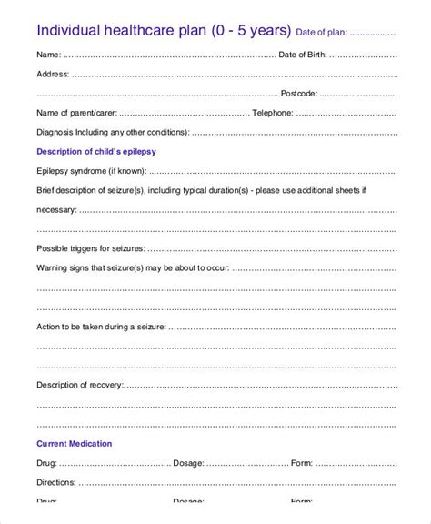 individual health care plan template care plan templates 10 free word pdf format