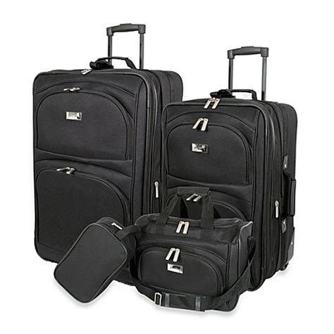 bed bath beyond luggage buy geoffrey beene 4 piece luggage set in black from bed