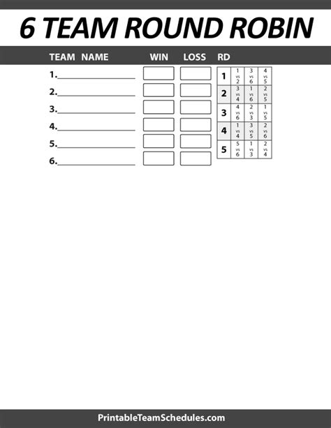 5 team robin template printable 6 team robin bracket