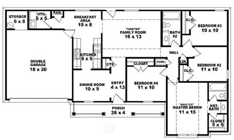 1 story floor plans 4 bedroom one story ranch house plans inside 4 bedroom 2