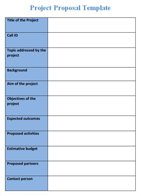 Blank Project Proposal Template Templates Resume Exles V0a2ez8gr4 Simple Grant Template