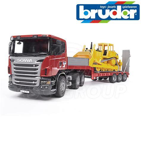Mainan Anak Scania R Series Low Loader Truck With Cat Bulldozer bruder 03555 scania r series low loader truck caterpillar cat bulldozer 1 16 ebay