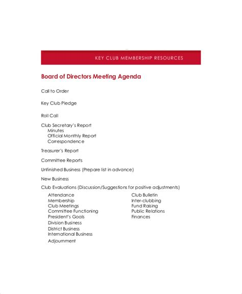 Board Of Directors Meeting Agenda Template 8 Free Word Pdf Documents Download Free Board Of Directors Meeting Minutes Template