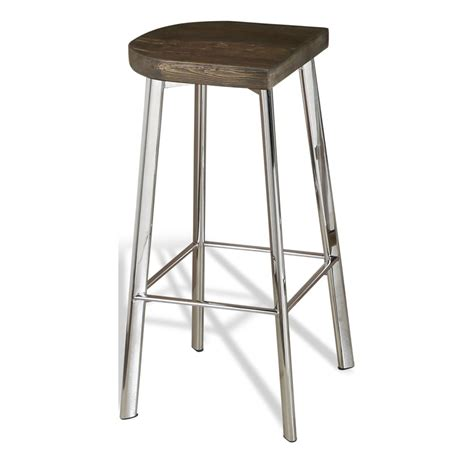 Wood Counter Stools by Xenia Rustic Wood And Stainless Steel Counter Stool