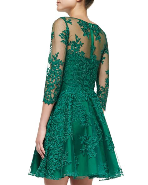 green cocktail dresses with sleeves lyst ml monique lhuillier 3 4 sleeve lace illusion