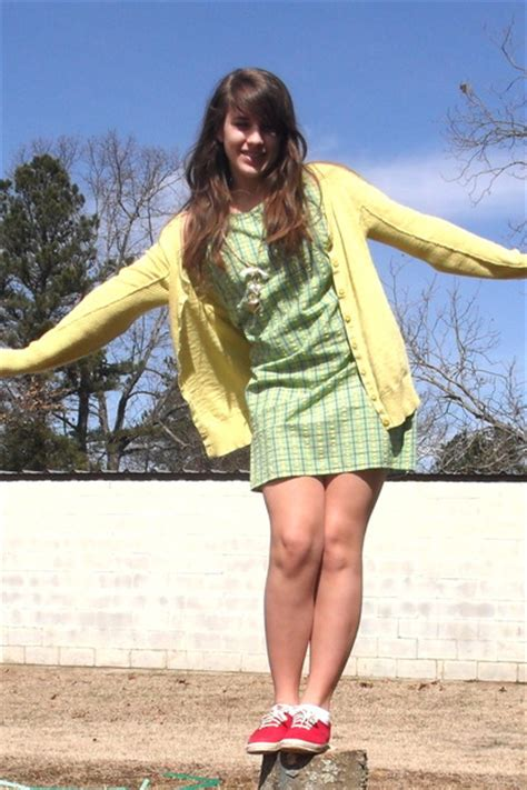 yellow cardigans green dresses gold accessories