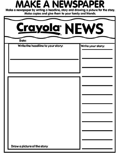 printable children s news articles make your own newspaper coloring page coloring page for