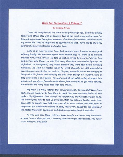 Essay About Veterans by Veterans Day Essay Contest Articleeducation X Fc2