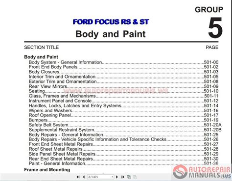 auto manual repair 2011 ford focus navigation system ford focus rs st 2011 body and paint manual auto repair manual forum heavy equipment