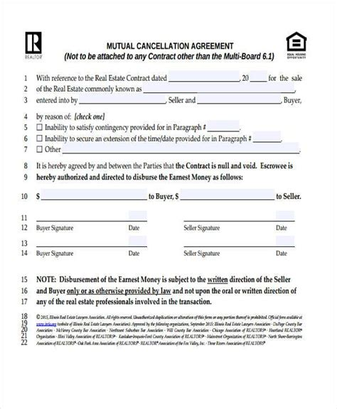format cancellation sale agreement contract forms in pdf