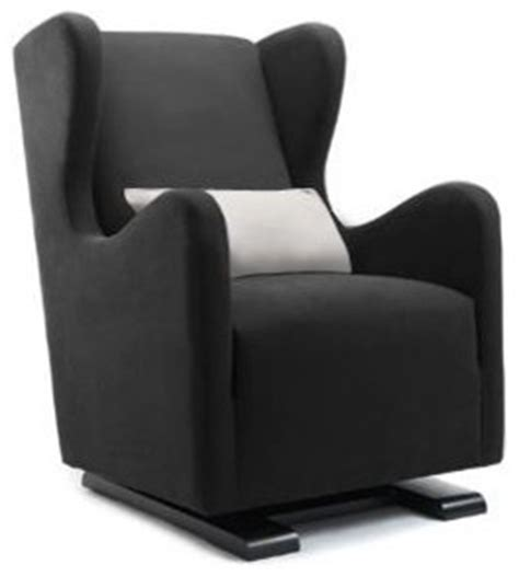 Leather Rocking Chairs For Nursery Monte Vola Glider In Bonded Leather Black Modern Nursing Chairs Gliders
