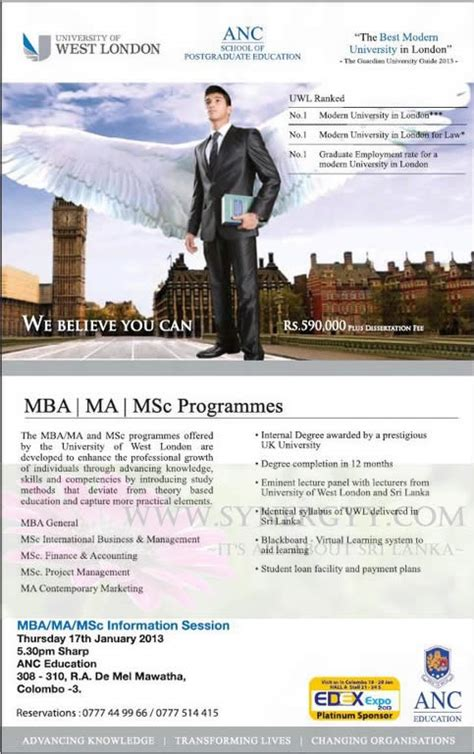 Anc Mba by Mba Ma Msc Degree Programme From Anc 171 Synergyy
