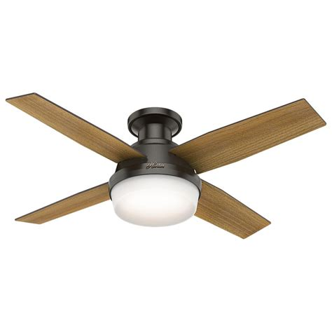 low profile ceiling fan with remote hunter dempsey 44 in low profile led indoor noble bronze