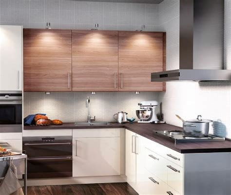 magnificent ikea brown and white polished hardwood kitchen