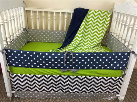 Navy And Green Crib Bedding Navy And Lime Green Crib Bedding Green Crib By Sewsweetbabydesigns