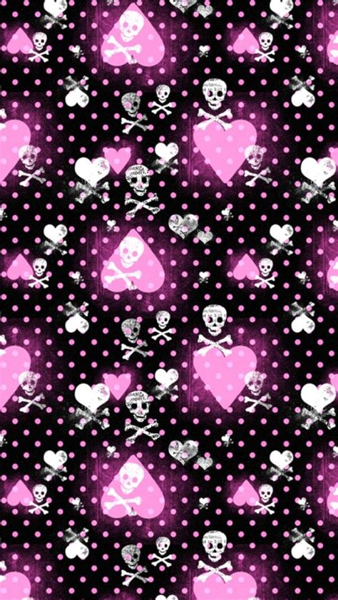 pink pattern iphone wallpaper pink heart and skull patterns wallpaper free iphone