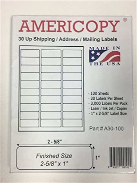 1 x 2 5 8 label template 3 000 compulabel 174 310950 removable adhesive laser ink jet labels 1 quot x2 625 quot same size as avery