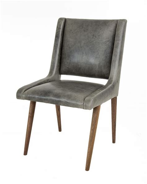 Gray Leather Dining Room Chairs Mid Century Dining Chair In Distressed Grey Leather Grey Grey Leather And Mid Century Dining