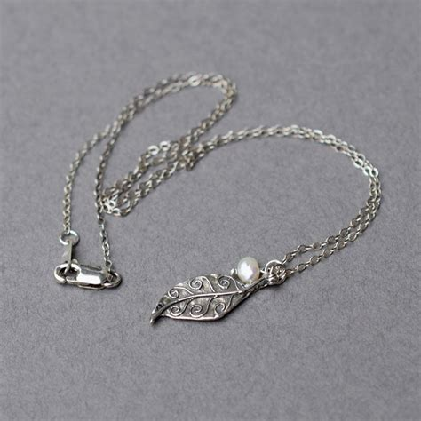 silver foil jewelry oxidized sterling silver leaf necklace freshwater pearl
