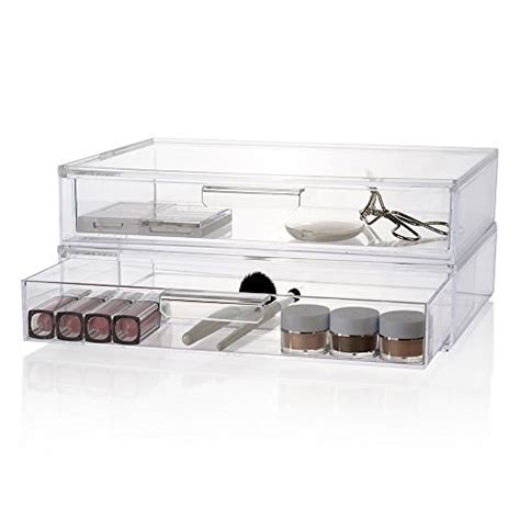clear stackable makeup drawers 2 pack premium quality large stackable cosmetic storage