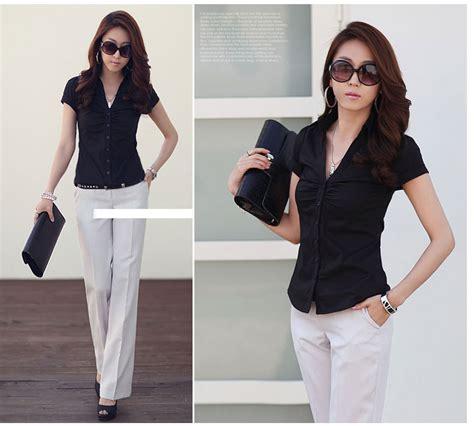 Shjt217080861342 Kemeja Hitam Baju Import kemeja hitam wanita lengan pendek model terbaru jual murah import kerja