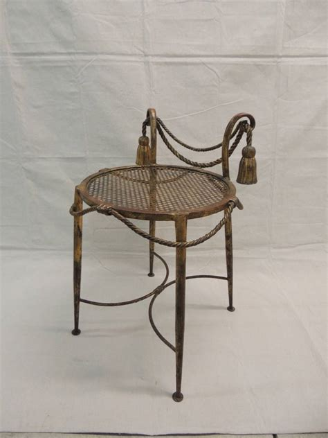 metal vanity bench 1940 s gilt metal rope and tassel vanity stool at 1stdibs