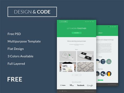 flat psd template minimal flat design psd website template