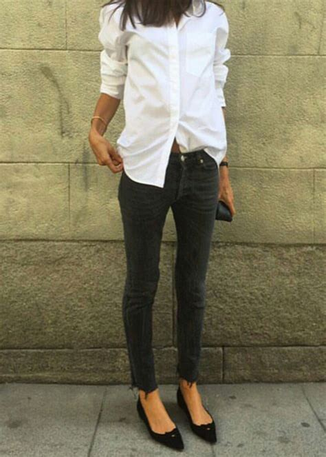 black and white shirt to wear with pants crisp white blouse black jeans torn at the bottom