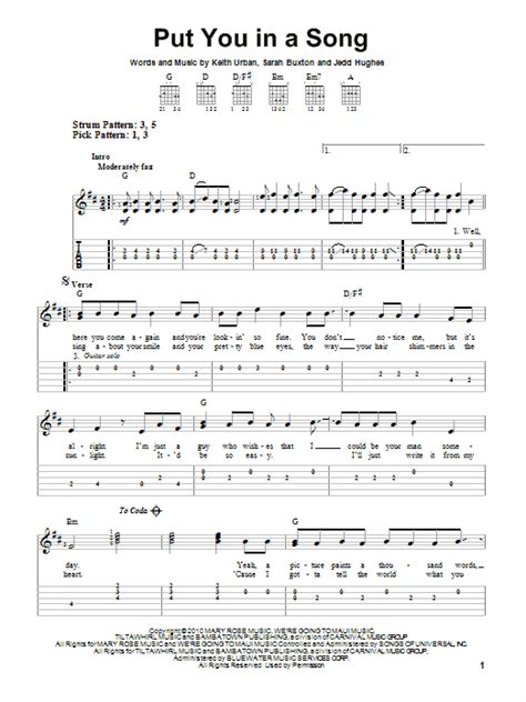 keith urban songs guitar chords put you in a song sheet music by keith urban easy guitar