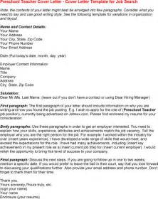 Exles Of Really Cover Letters by Preschool Cover Letter Http Www Resumecareer
