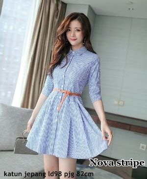 Baju Dress Fashion Wanita Motif model baju mini dress pendek fashion wanita motif belang