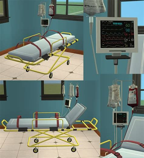 mod the sims downloads challenge themes stuff for kids stretcher with straps and monitor theme hospital dr
