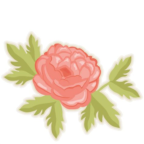 peony clipart peony flower svg cutting files doodle cut files for