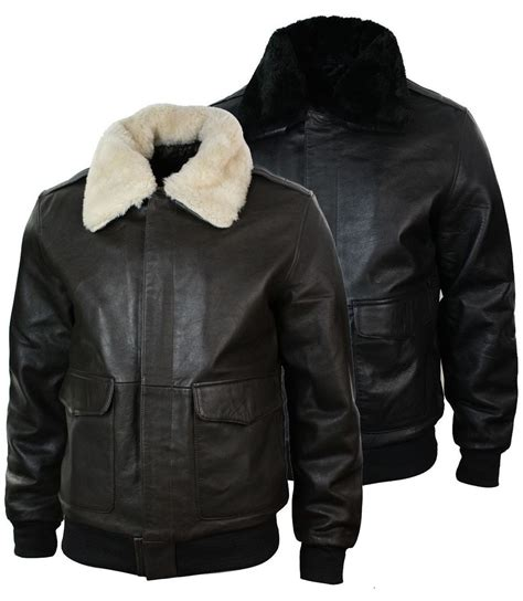 Jaket Boomber Jaket Pilot Series mens real fur collar leather bomber pilot flying jacket black brown a2 ebay