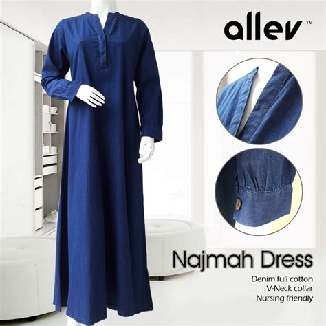 Dress Katun Denim gamis katun denim najma dress galeri allev