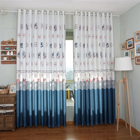 classic nautical curtains in blue and white colors