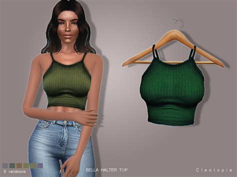 Sims 4 Female Halter Top | bella halter top by cleotopia at tsr 187 sims 4 updates