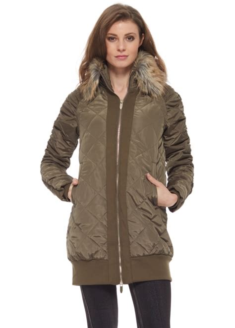 Designer Quilted Coats by Khaki Green Quilted Coat With Faux Fur Collar