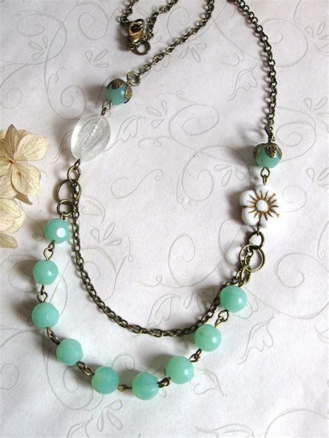 mint green necklace shabby chic jewelry white flower vintage st