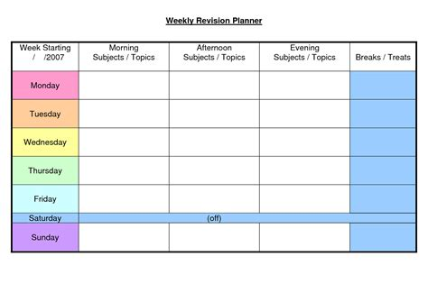 weekly academic planner template 6 best images of printable weekly school planner
