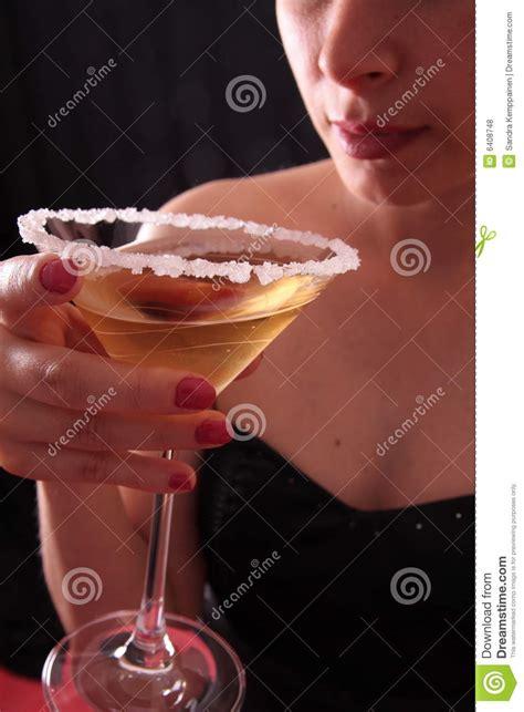 martini woman beautiful woman with a martini glass royalty free