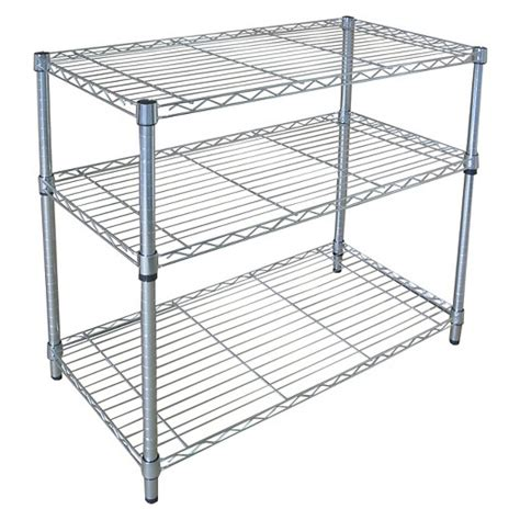 adjustable 3 tier wide wire shelving chrome room