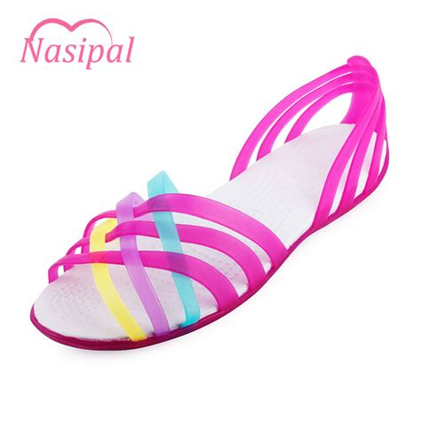 Jelly Shoes Anak Boots Rainbow nasipal sandals 2017 summer new color peep toe rainbow croc jelly