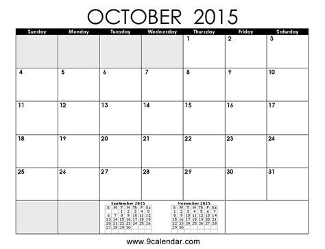 printable monthly calendar for october 2015 october 2015 calendar template 2017 printable calendar