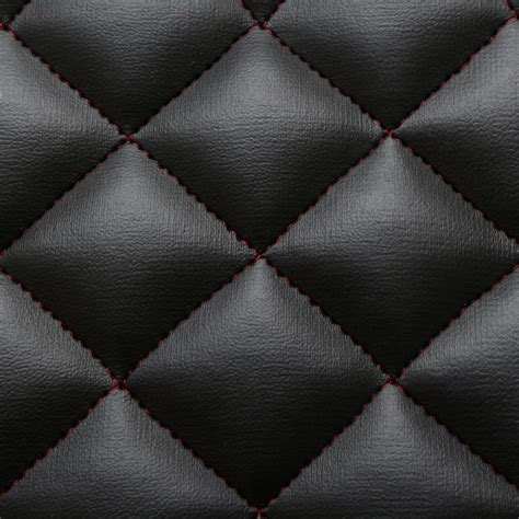 auto upholstery patterns black red stitch diamond quilted faux leather car interior